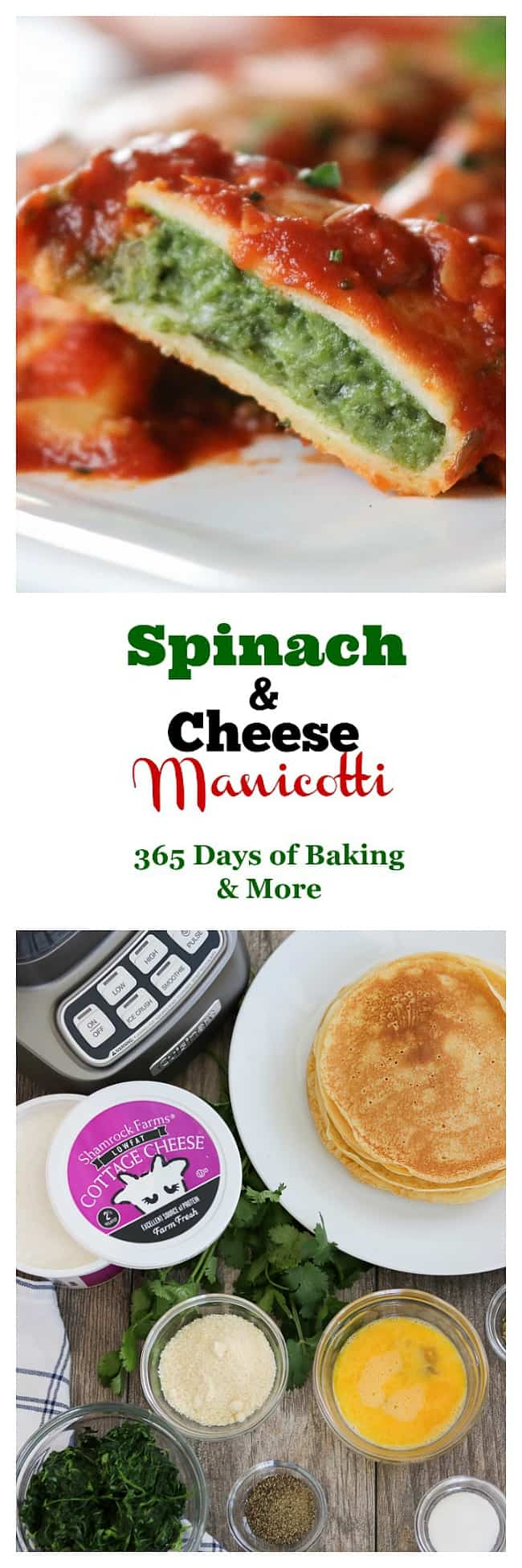 This easy Spinach and Cheese Manicotti is an old family favorite. It starts with a smooth, creamy filling made of cottage cheese, spinach, and eggs, and is rolled into a homemade crepe. Serve them with a salad and you have a delicious dinner that your family will enjoy for years to come.