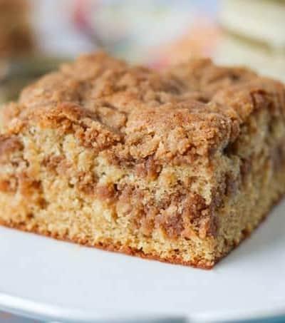 A slice of Cinnamon Sour Cream Coffee Cake.