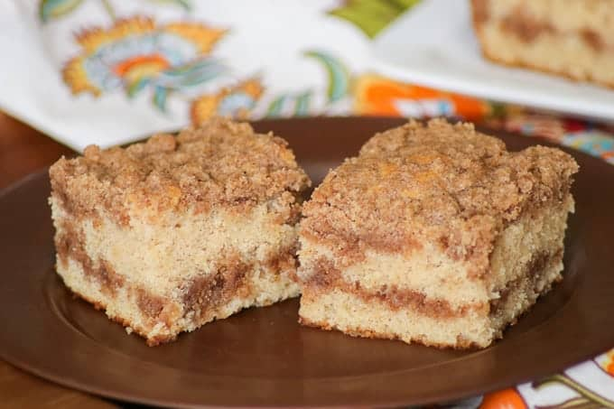 Layer after layer of deliciousness makes up this Cinnamon Sour Cream Coffee Cake.