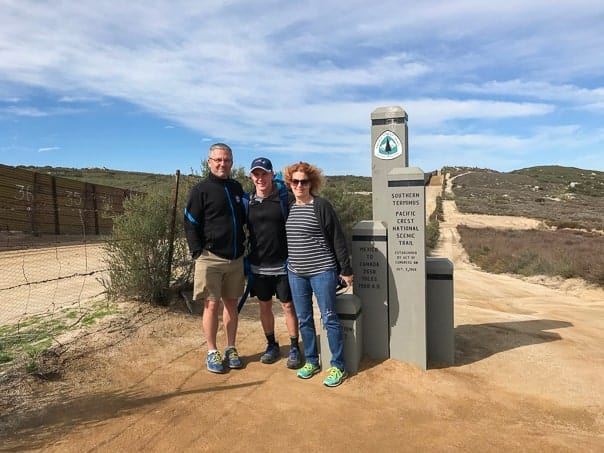 Mom and Dad sending Cameron Feifer off at the beginning of his 2,650-mile hike of the Pacific Crest Trail in Campo, CA.