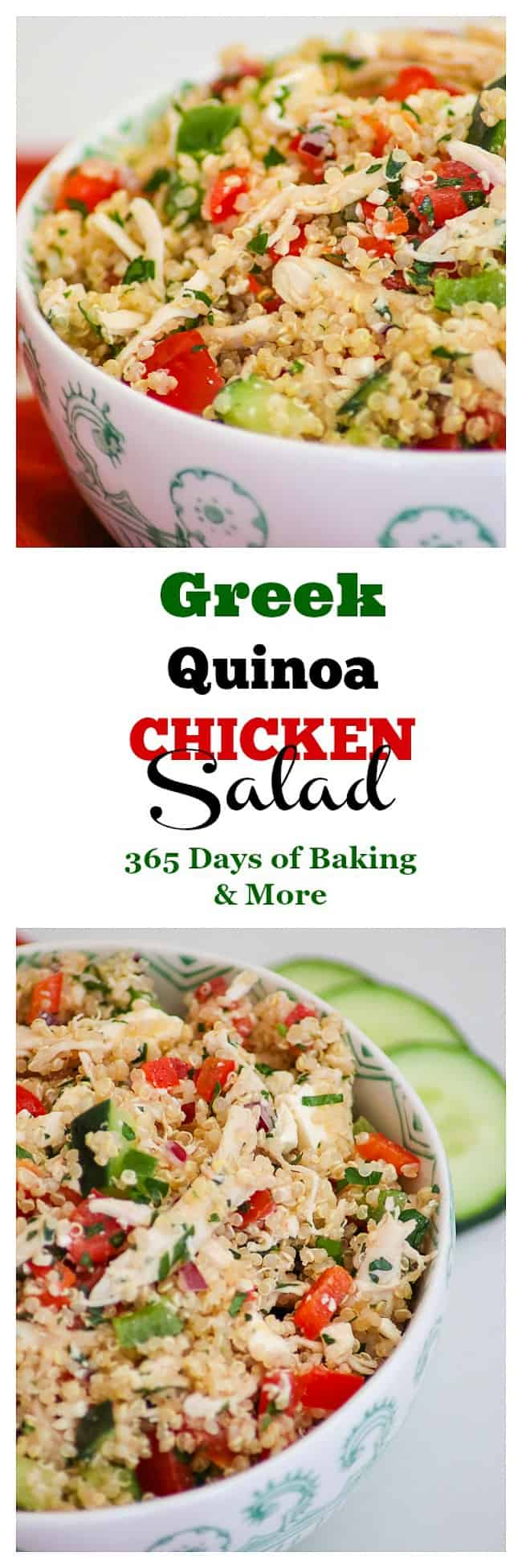Greek Quinoa Chicken Salad with rotisserie chicken, quinoa, feta cheese, bell peppers, cucumber and a lemon vinaigrette.