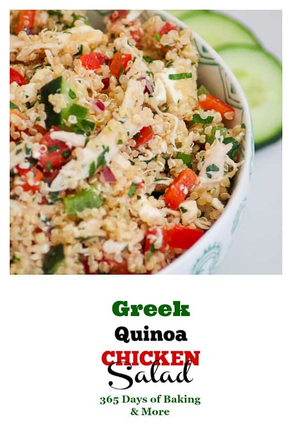 Make dinner easy with this quick Greek Quinoa Chicken Salad. Fresh ingredients for a quick and delicious dinner!