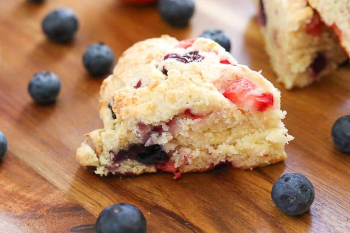 Moist Mixed Berry Scones made with fresh strawberries and blueberries.