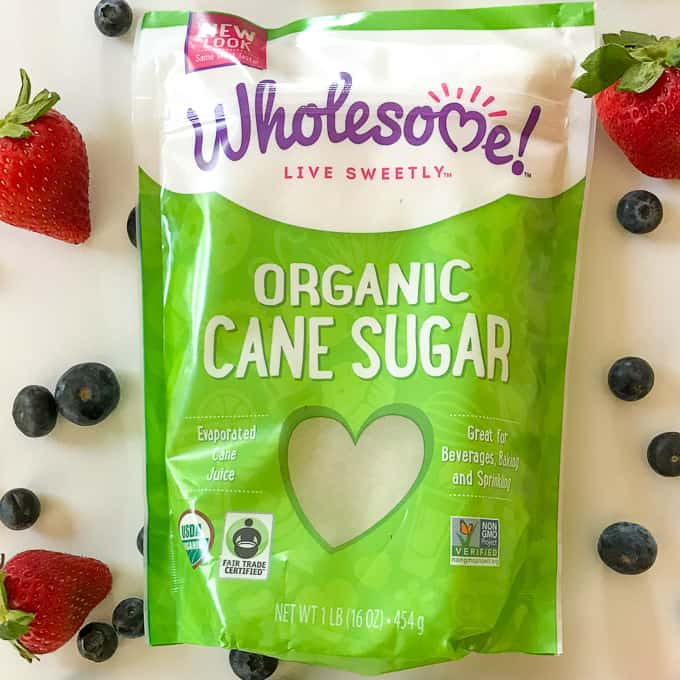 Wholesome Organic Cane Sugar and fresh berries for Fair Trade Certified.