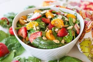 This Strawberry Spinach salad with its' sweet and sour poppy seed dressing will be a very requested recipe this summer.