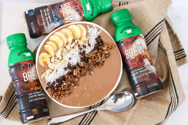 Start your mornings with Shamrock Farms Cold Brew Coffee & Milk and this Banana Mocha Smoothie Bowl.