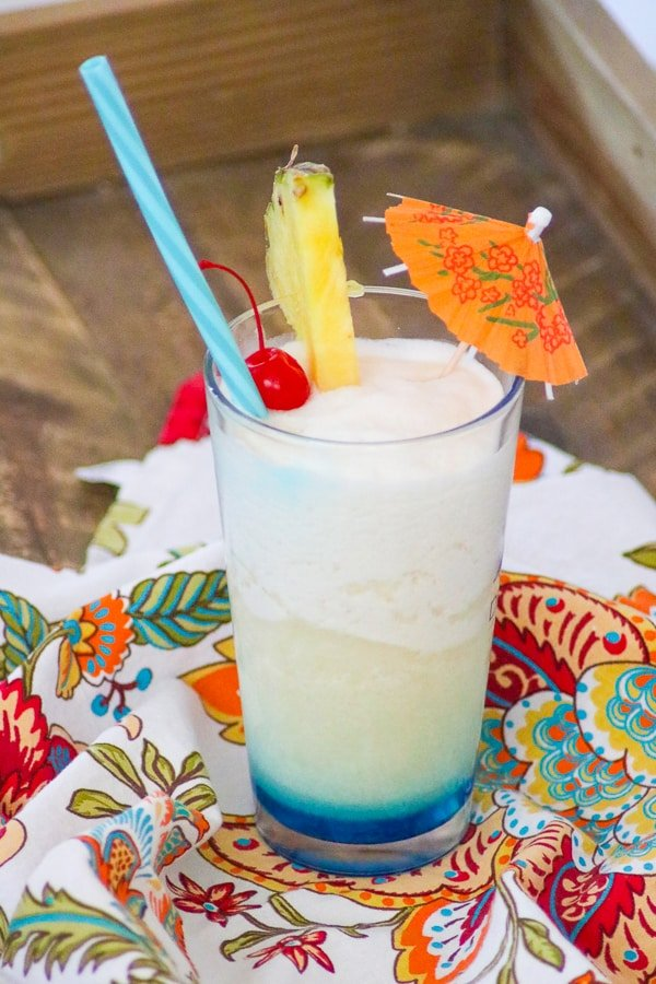 Blue Ocean Drink Recipe - Frozen Pina Colada with Blue Curacao on the bottom.