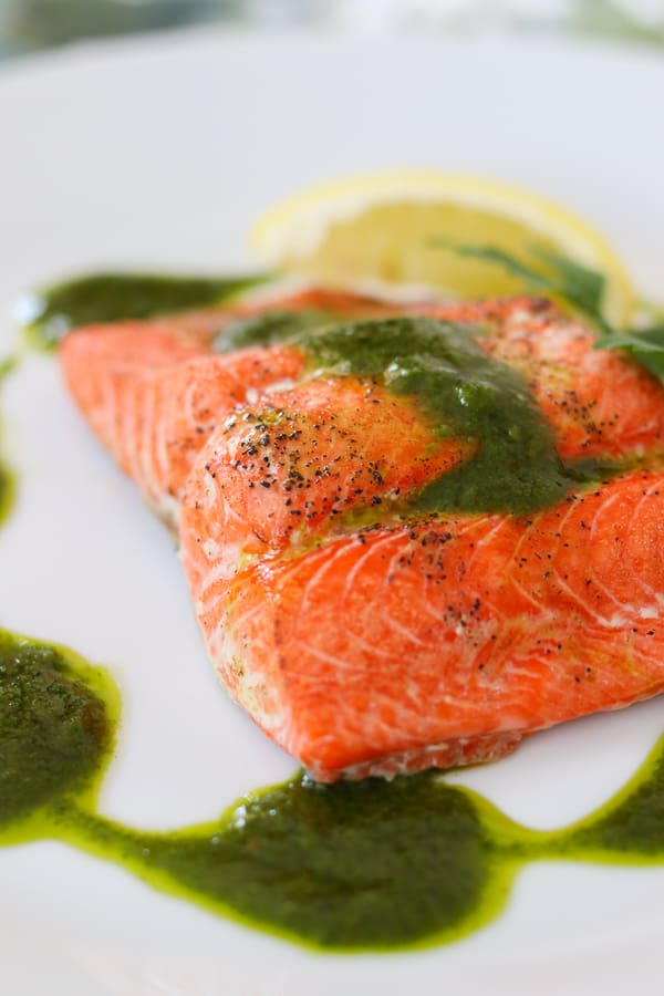 Lots of flavor in each bite, this Chimichurri Salmon is a dinner that can be ready in less than 15 minutes!