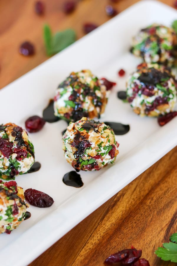 These are Cranberry Pecan Goat Cheese Bites. A slightly sweet and savory appetizer that will be perfect for your upcoming parties!
