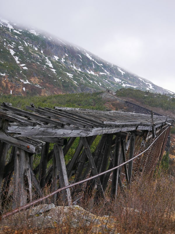 Abandoned railroad bridge from 1898 Klondike gold rush. Skagway, Alaska- What to Pack for an Alaska Cruise