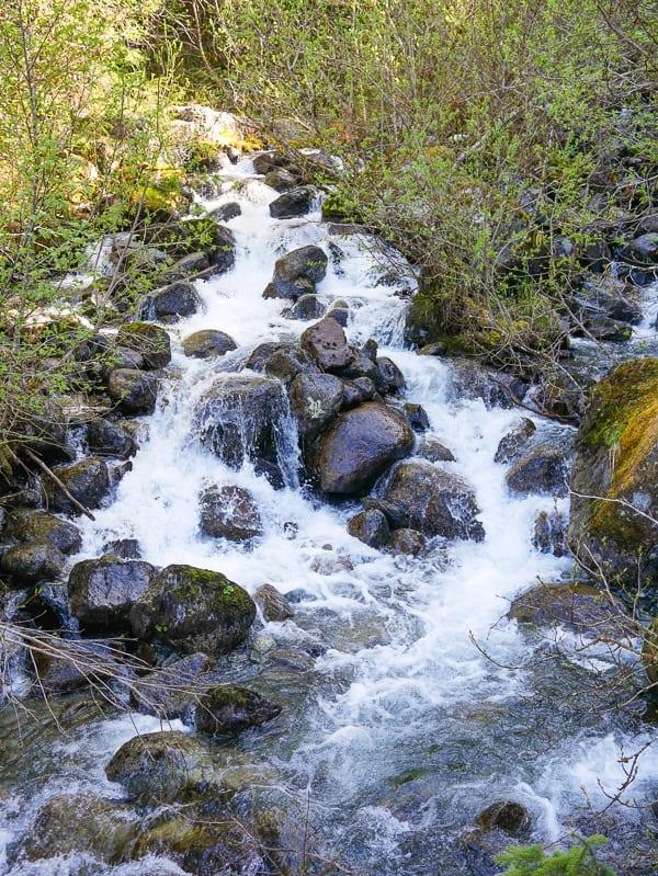 Pretty waterfall along Mendenhall Glacier Trail hike.