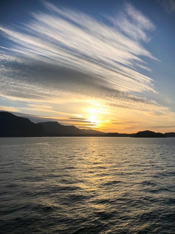 View of an Alaskan sunset of Princess Cruises Island Princess- What to Pack for an Alaska Cruise