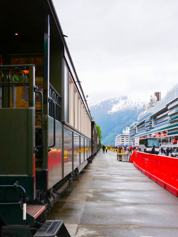 White Pass Scenic Railway next to the cruise ships in Skagway, Alaska.