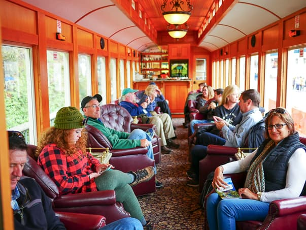 The inside of the Luxury Class train car on the White Pass Scenic Railway. Skagway, Alaska.