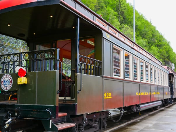 The Luxury Class train car on the White Pass Scenic Railway tour in Skagway, Alaska.