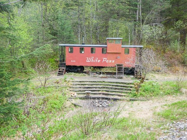 An original train car on White Pass Scenic Railway. Skagway, Alaska