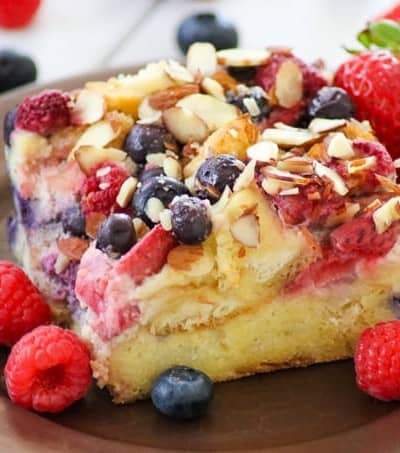 Blueberries, raspberries and strawberries make up this Almond Berry French Toast Casserole.