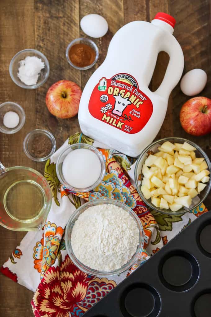 Ingredients needed for Apple Streusel Muffins, including Shamrock Farms Organic Milk.
