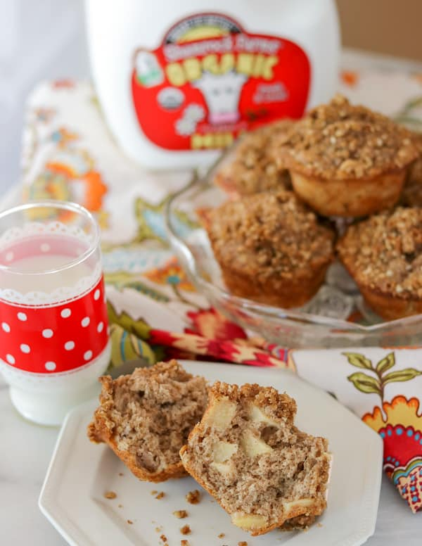 A glass of milk and an Apple Streusel Muffin on a plate.