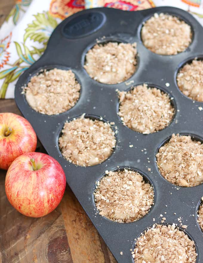 Apple Streusel Muffins before going into the oven.