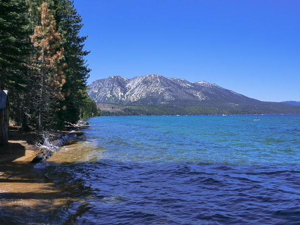 View of Lake Tahoe from Tallac Historic Site in South Lake Tahoe, CA.