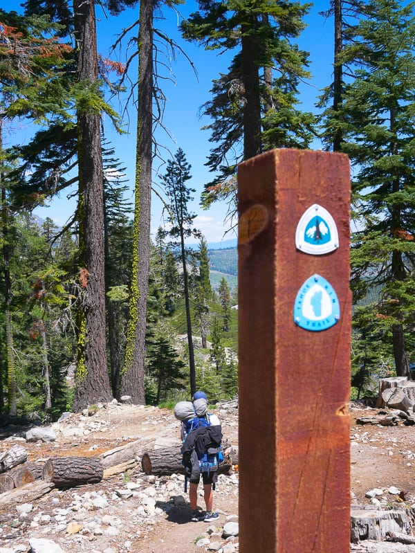 PCT trail marker at Echo Lake, South Lake Tahoe