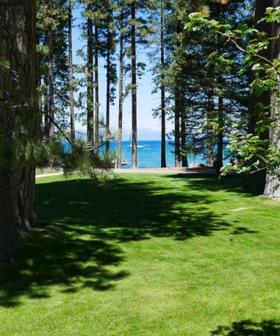 View of the lake and tall pines at Tallac Historic Site in South Lake Tahoe, CA.