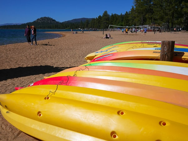 Kayaks on a South Lake Tahoe Beach