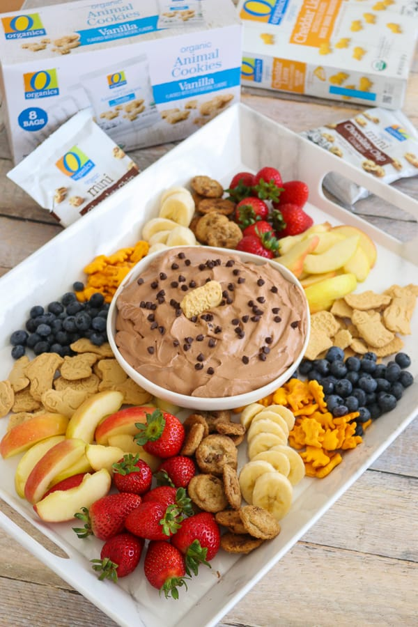 Chocolate Cheesecake Dip with a tray full of dipper ideas.