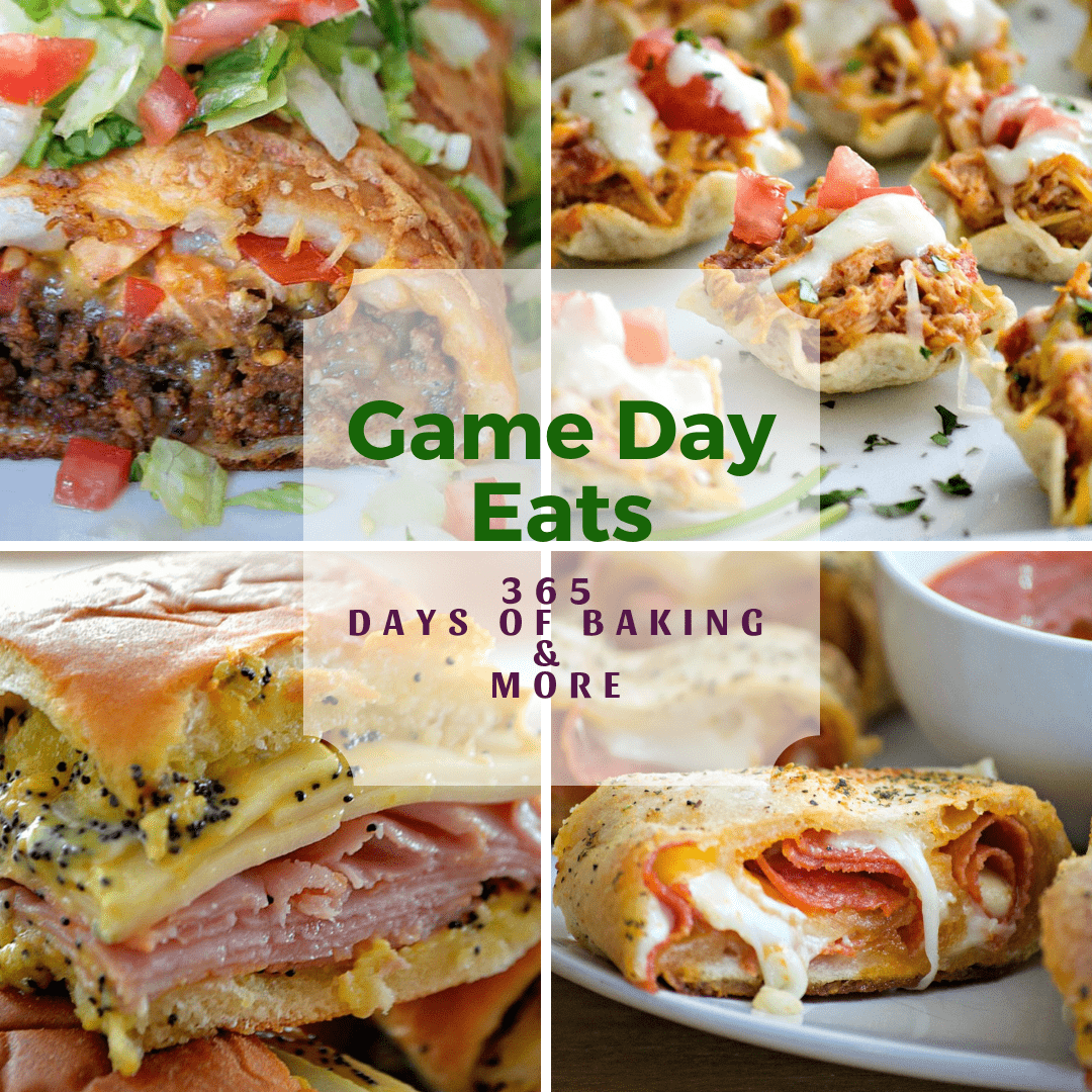 Game Day Eats including Taco Braid, Chicken Enchilada Bites, Ham & Cheese Sandwiches, Pepperoni Bread
