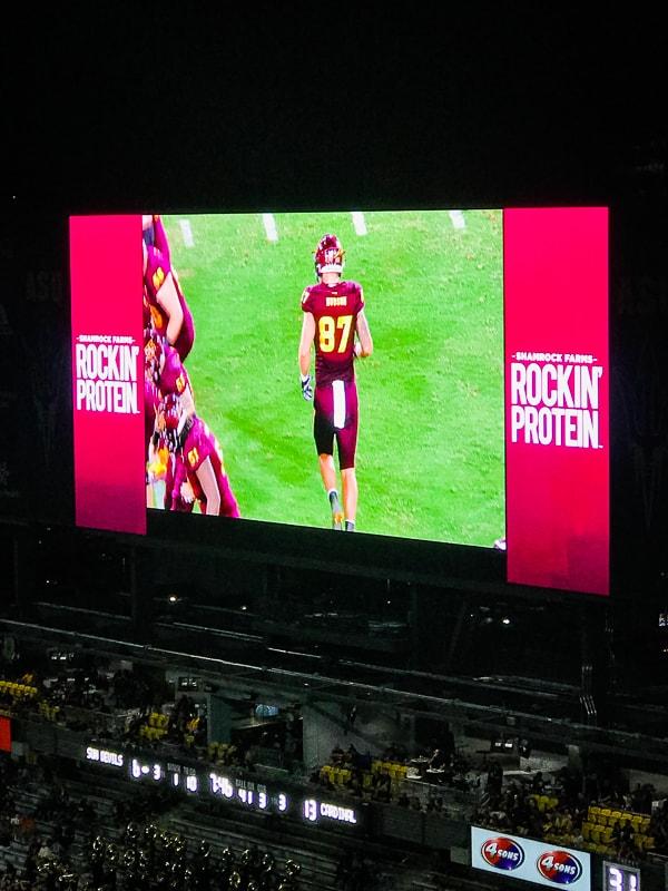 Shamrock Farms Rockin' Protein Ad on ASU Sun Devil Stadium jumbotron.