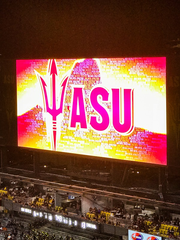 ASU Sun Devil Stadium jumbotron.