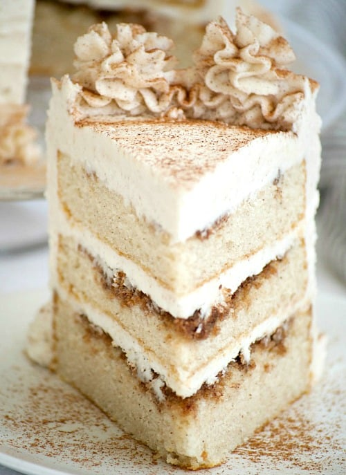 A slice of Cinnamon Roll Layer Cake