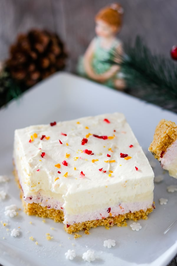 Square of Cranberry Orange Dream Bars.