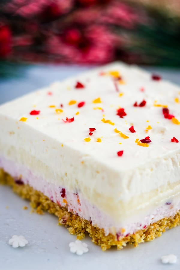 Angled close up of Cranberry Orange Dream Bars.