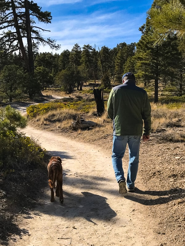 Logan the Golden Dog and dad hiking Bryce Canyon Rim Trail.