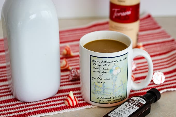 Peppermint White Chocolate Coffee Creamer in a cup of coffee.