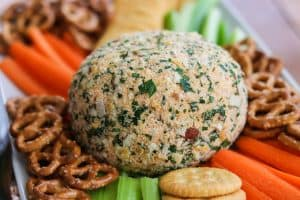 Buffalo Chicken Cheese Ball with carrots, celery, crackers and pretzels.