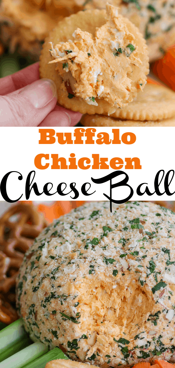 Buffalo Chicken Cheese Ball on a cracker.
