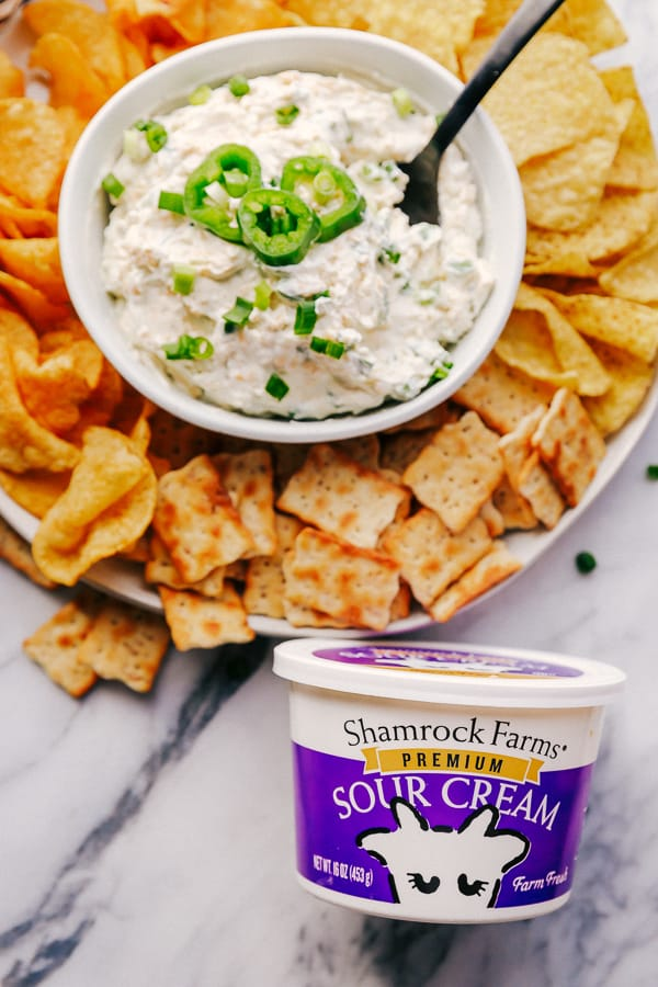 Crackers, Chips, Jalapeño Ranch Dip and Shamrock Farms Sour Cream.