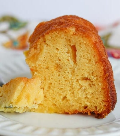 Front shot of Pineapple Rum Cake.
