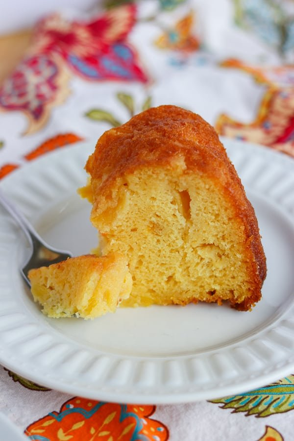A bite of Pineapple Rum Cake.
