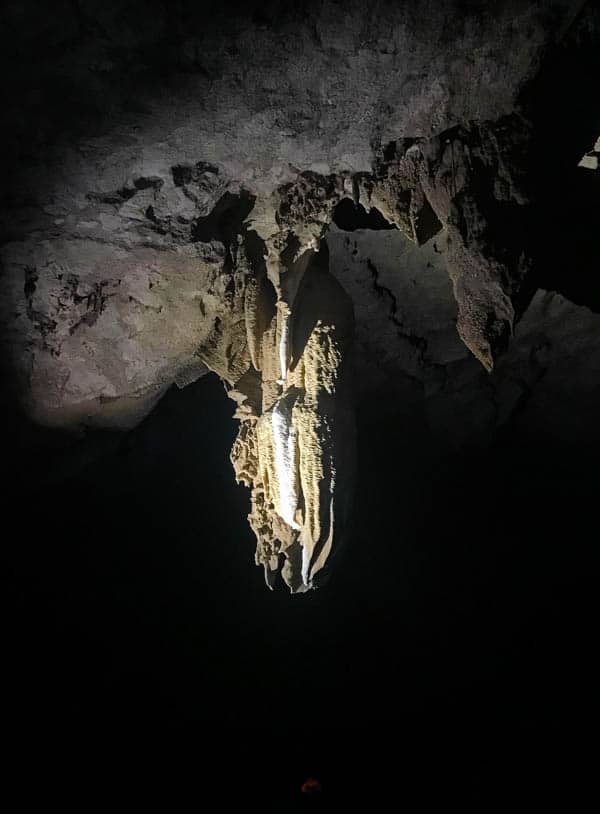A stalactite in the Crystal Caves in Belize.