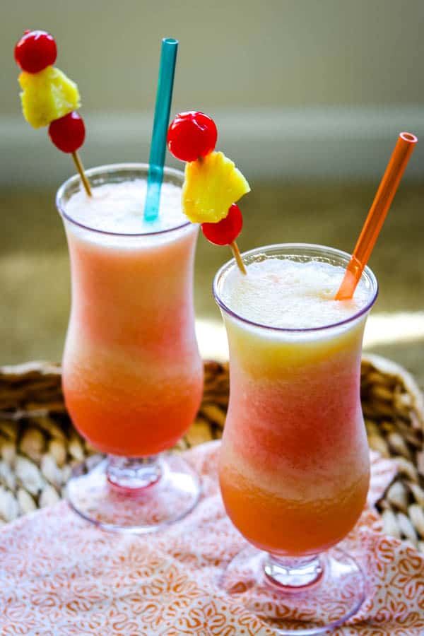 Two glasses of Frozen Bahama Mama