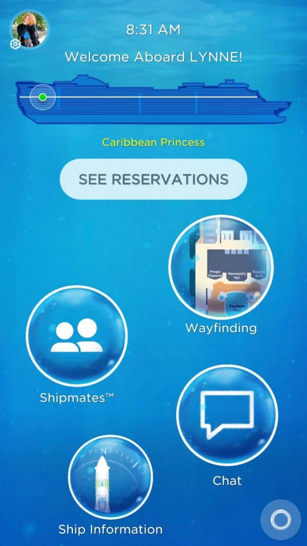 The Princess OceanCompass app.