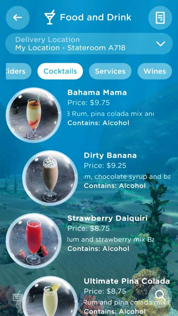 Drink selection on the OceanNow app.