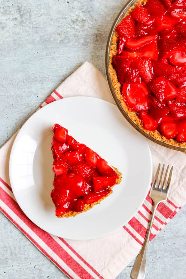 Top view of Strawberry Pretzel Pie.