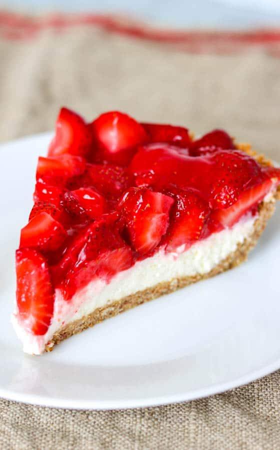 Strawberry Pretzel Pie - a pretzel crust, a cheesecake filling topped with a fresh strawberry jello layer.
