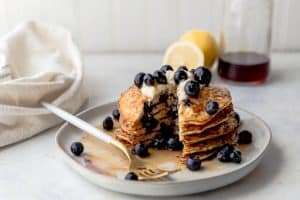 Breakfast is better with these Lemon Blueberry Cottage Cheese Pancakes.