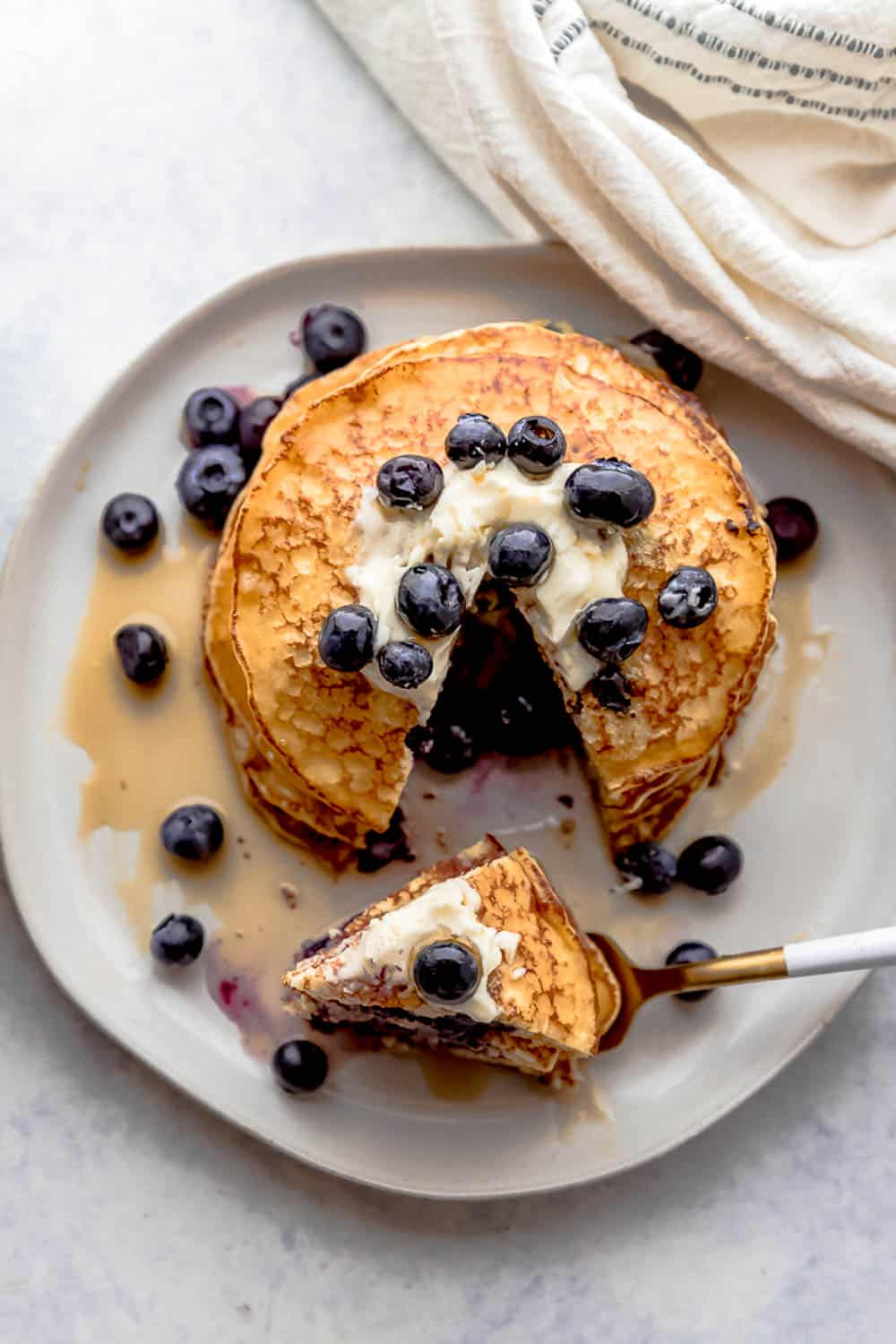 Lemon Blueberry Cottage Cheese Pancakes.